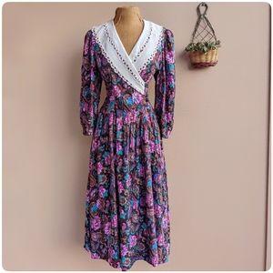 Vintage wrap collar prairie dress